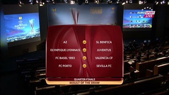 Результаты жеребьевки 1/4 Лиги Европы 2013-2014