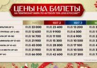 Цены на билеты ЧМ 2018